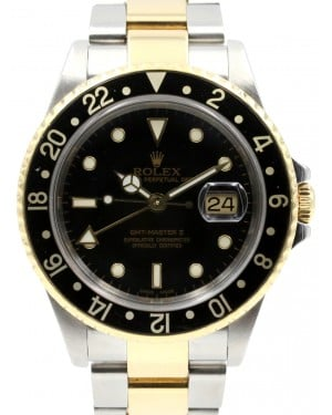 Rolex GMT-Master II 16713 Men's 40mm Black Yellow Gold Stainless Steel Oyster
