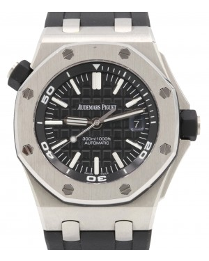 Audemars Piguet 15710ST.OO.A002CA.01 Royal Oak Offshore Diver 42mm Black Index Stainless Steel Rubber Automatic PRE-OWNED