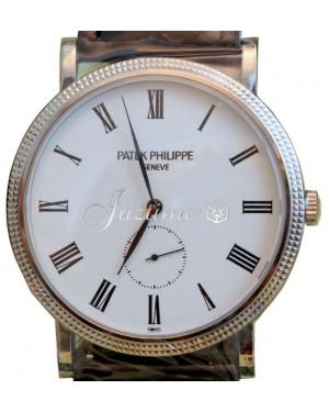 Patek Philippe 5119G-001 Calatrava 36mm White Roman Hobnail White Gold Leather BRAND NEW