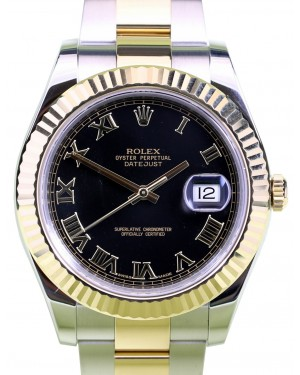 Rolex Datejust II Yellow Gold & Steel Black Roman Dial Two-Tone Oyster Bracelet 116333 - PRE-OWNED