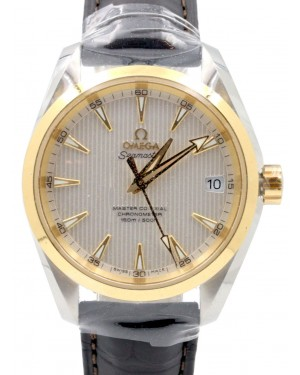 Omega Seamaster Aqua Terra 231.23.39.21.02.002 Silver Index 150 M Co-Axial Yellow Gold Stainless Steel Leather 38.5mm - BRAND NEW