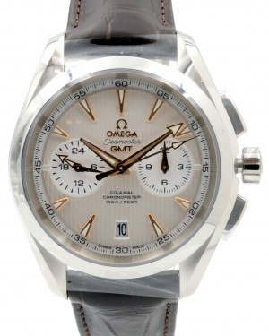 Omega Seamaster Aqua Terra 231.13.43.52.02.001 Silver Index 150 M Co-Axial GMT Chronograph Stainless Steel Leather 43mm - BRAND NEW