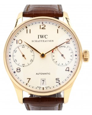 IWC Portuguese Automatic IW500113 Silver Arabic Rose Gold 7 Days Power Reserve 42.3mm PRE-OWNED