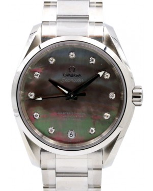Omega Seamaster Aqua Terra Ladies 231.10.39.21.57.001 Dark Mother of Pearl Diamond 150 M Co-Axial Stainless Steel 38.5mm - BRAND NEW