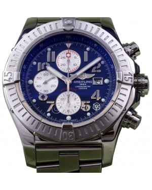 Breitling Super Avenger A13370 Men's 48mm Blue Arabic Stainless Steel Chronograph