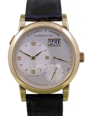 A Lange Sohne Lange 1 One 101.021 Men's 38.5mm 18k Yellow Gold Silver Brown Leather Manual-Wind