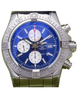 Breitling Super Avenger 2 A13371 Men's 48mm Blue Index Stainless Steel Pro 3 - BRAND NEW