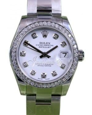 Rolex Datejust 31 Lady Midsize Stainless Steel White Diamond Dial & Bezel Oyster Bracelet 178240 - BRAND NEW