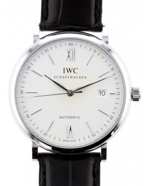 IWC Schaffhausen IW356501 Portofino Automatic Silver Plated Index Stainless Steel Black Leather 40mm Automatic
