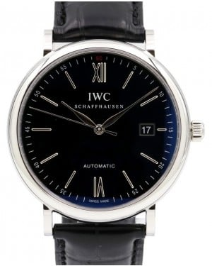 IWC Schaffhausen IW356502 Portofino Automatic Black Index Stainless Steel Black Leather 40mm BOX PAPERS