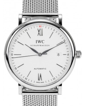 IWC Schaffhausen IW356505 Portofino Automatic Silver Plated Index Milanaise Mesh Stainless Steel 40mm Automatic