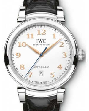 IWC Schaffhausen Da Vinci Automatic IW356601 Silver Arabic Stainless Steel Black Leather 40mm BRAND NEW