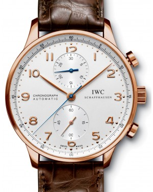 IWC Schaffhausen IW371480 Portugieser Chronograph Silver Plated Arabic Red Gold Brown Leather 40.9mm Automatic
