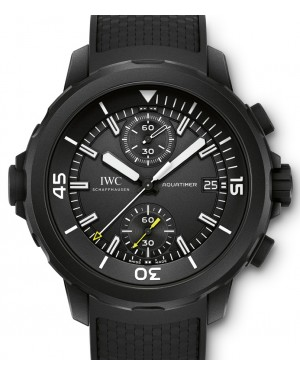 IWC Schaffhausen IW379502 Aquatimer Chronograph Edition Galapagos Islands Black Index Black Rubber Coated Stainless Steel Chronograph 44mm Automatic