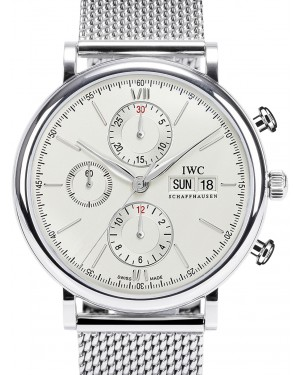IWC Schaffhausen IW391009 Portofino Chronograph Silver Plated Index Milanaise Mesh Stainless Steel 42mm Automatic