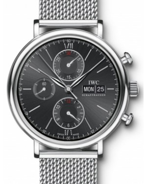IWC Schaffhausen IW391010 Portofino Chronograph Black Index Milanaise Mesh Stainless Steel 42mm Automatic