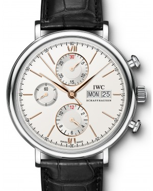 IWC Schaffhausen IW391022 Portofino Chronograph Silver Plated Index Stainless Steel Black Leather 42mm Automatic