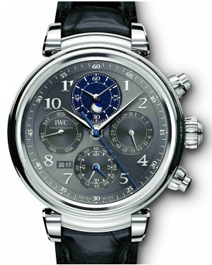 IWC Schaffhausen Da Vinci Perpetual Calendar Chronograph IW392103 Slate Arabic Stainless Steel Black Leather 43mm BRAND NEW