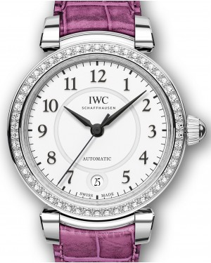 IWC Schaffhausen Da Vinci Automatic 36 IW458308 Silver Arabic Diamond Bezel Stainless Steel Pink Leather 36mm BRAND NEW