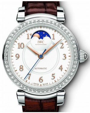 IWC Schaffhausen Da Vinci Automatic Moon Phase 36 IW459307 Silver Arabic Stainless Steel Diamond Bezel 36mm BRAND NEW