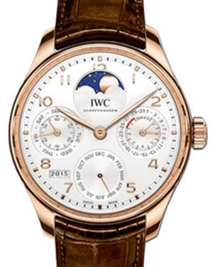 IWC Schaffhausen IW503302 Portugieser Perpetual Calendar Silver Plated Arabic Red Gold Brown Leather 44.2mm Automatic