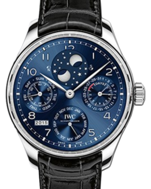 IWC Schaffhausen IW503401 Portugieser Perpetual Calendar Midnight Blue Arabic White Gold Black Leather 44.2mm Manual