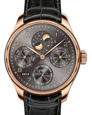 IWC Schaffhausen IW503404 Portugieser Perpetual Calendar Ardoise Arabic Red Gold Black Leather 44.2mm Automatic