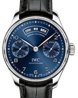 IWC Schaffhausen IW503502 Portugieser Annual Calendar Midnight Blue Arabic Stainless Steel Black Leather 44.2mm Automatic