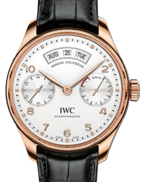 IWC Schaffhausen IW503504 Portugieser Annual Calendar Silver Plated Arabic Red Gold Black Leather 44.2mm Automatic