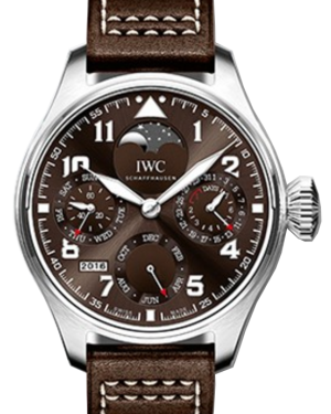 "IWC Schaffhausen IW503801 Big Pilot's Watch Perpetual Calendar Edition ""Antoine De Saint Exupéry"" Tobacco Brown Arabic Stainless Steel Brown Leather 46mm Automatic"