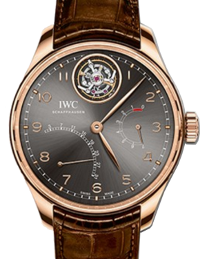 IWC Schaffhausen IW504602 Portugieser Tourbillon Mystère Rétrograde Ardoise Arabic Red Gold Brown Leather 44.2mm Manual