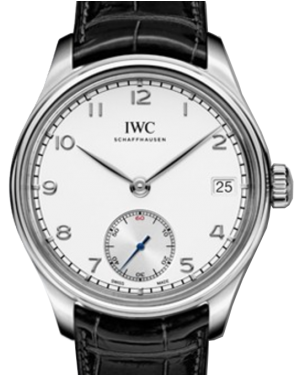 IWC Schaffhausen IW510203 Portugieser Hand-Wound Eight Days Silver Plated Arabic Stainless Steel Black Leather 43mm Manual