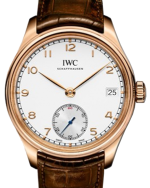 IWC Schaffhausen IW510204 Portugieser Hand-Wound Eight Days Silver Plated Arabic Red Gold Brown Leather 43mm Manual