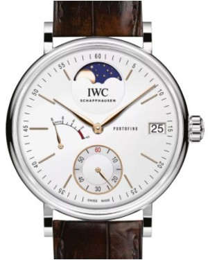 IWC Portofino Hand Wound Moonphase IW516401 Eight Days Silver Index Stainless Steel 45mm Men's - BRAND NEW