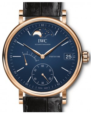 "IWC Portofino Hand-Wound Moon Phase Edition ""150 Years"" IW516407 Blue Index Red Gold Leather 45mm - BRAND NEW"