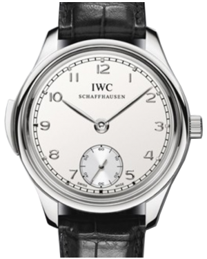 IWC Schaffhausen IW544906 Portugieser Minute Repeater Silver Plated Arabic Platinum Black Leather 44mm Manual