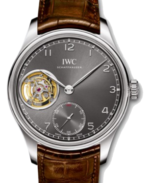 IWC Schaffhausen IW546301 Portugieser Tourbillon Hand-Wound Ardoise Arabic White Gold Brown Leather 43mm Manual