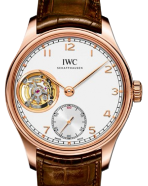 IWC Schaffhausen IW546302 Portugieser Tourbillon Hand-Wound Silver Plated Arabic Red Gold Brown Leather 43mm Manual