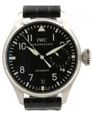 IWC Big Pilot 5004 Stainless Steel Black 46mm Dial & Steel Bezel Leather Bracelet IW5004-01 - PRE-OWNED