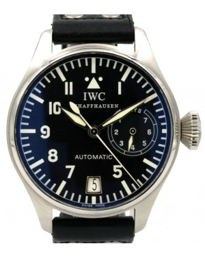 IWC Big Pilot IW5002-01 Black Arabic Stainless Steel Leather Men's 46mm - PRE-OWNED