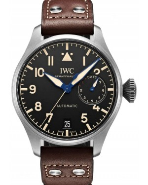 IWC Big Pilot's Watch Heritage Titanium Black Dial & Leather Strap IW501004 - BRAND NEW