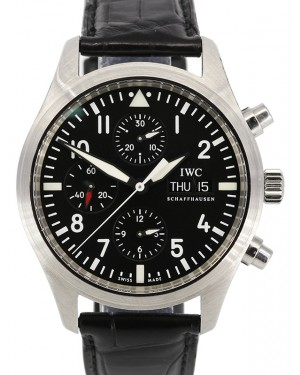 IWC Pilot's Watch Chronograph Black Dial Stainless Steel Bezel Leather Strap IW371701 - PRE-OWNED