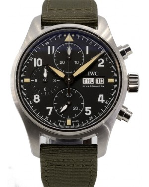 IWC Pilot's Watch Chronograph Spitfire Black Dial Stainless Steel Bezel Leather Strap IW387901 PRE-OWNED