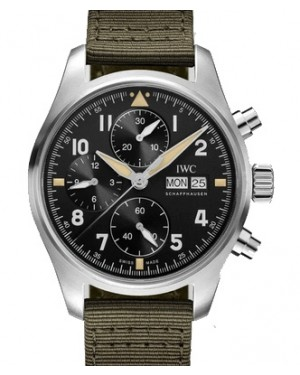 IWC Pilot's Watch Chronograph Spitfire Black Dial Stainless Steel Bezel Leather Strap IW387901 BRAND NEW