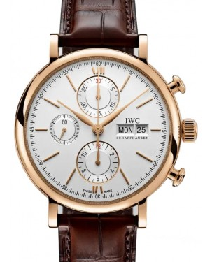 IWC Portofino Chronograph Rose Gold Silver Dial & Leather Strap IW391025 - BRAND NEW
