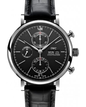 IWC Portofino Chronograph Stainless Steel Black Dial & Steel Bezel Leather Strap IW391029 - BRAND NEW