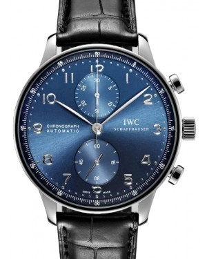 IWC Portugieser Chronograph Stainless Steel Blue Dial & Steel Bezel Leather Strap IW371491 - BRAND NEW