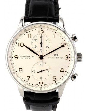 IWC Portuguese Automatic Chronograph IW371445 Men's Silver Arabic Stainless Steel PRE-OWNED