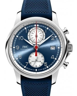 IWC Portugieser Yacht Club Chronograph Stainless Steel Blue Dial & Steel Bezel Rubber Strap IW390507 - BRAND NEW