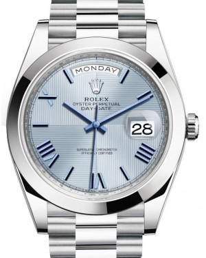Rolex Day-Date 40 Platinum Ice Blue Quadrant Roman Dial Roman Dial & Smooth Bezel President Bracelet 228206 - BRAND NEW